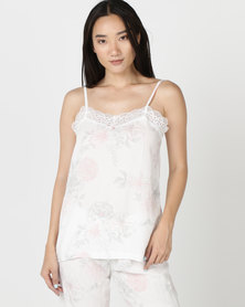 Poppy Divine Printed Strappy Top Ivory With Print Blush/Grey