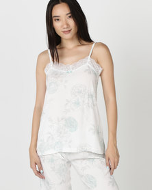 Poppy Divine Printed Strappy Top Ivory With Duck Egg Blue/Grey Print