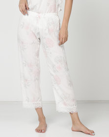 Poppy Divine Printed 3/4 Pants Ivory With Print Blush/Grey