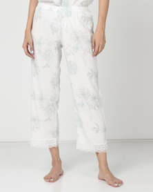 Poppy Divine Printed 3/4 Pants Ivory With Print Duck Egg Blue/Grey
