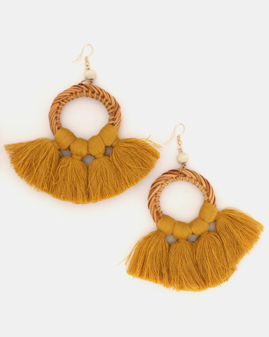 Miss Maxi Summer Tassel Earrings Mustard