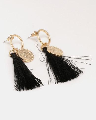 Miss Maxi Disk Tassle Earrings Black/Gold