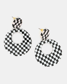 Miss Maxi Check Me Out Circle Drop Earrings Monochrome