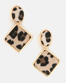 Miss Maxi Leopard Print Earrings Natural