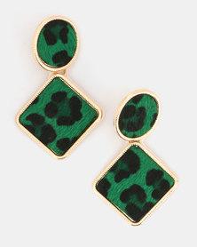 Miss Maxi Leopard Print Earrings Green