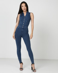 Sissy Boy Sleeveless 4 Way Knit Denim Jumpsuit Med Vintage