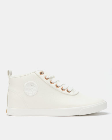 Soviet Callista Mid Cut PU Sneakers White/Rose Gold