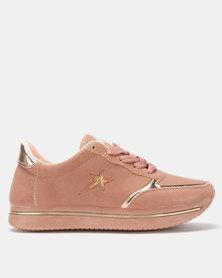 Soviet Fergie Ladies Nubuck Fashion Jogger Sneakers Dusty Pink/Rose-Gold