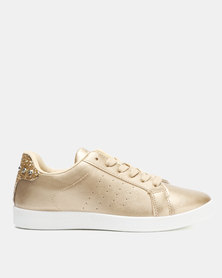 Soviet Lindsey Ladies PU Lace Ups With Crushed Glitter Detail Gold