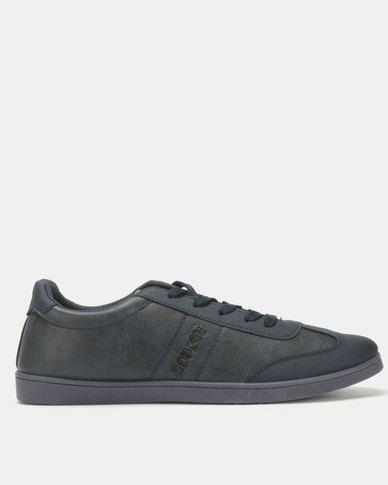Soviet Hamilton Men's PU Low Cut Sneakers Navy Mono
