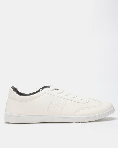 Soviet Hamilton Men's PU Low Cut Sneakers White Mono