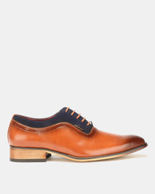 Anton Fabi Silvano Formal Lace Up Tan/Navy