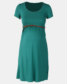 Cherry Melon Belted Scoop Neck Dress Jungle Green