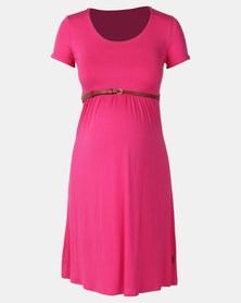 Cherry Melon Belted Scoop Neck Dress Cerise