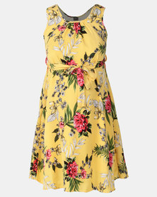 Cherry Melon Belted Tunic Dress Sketch Floral Yellow Print