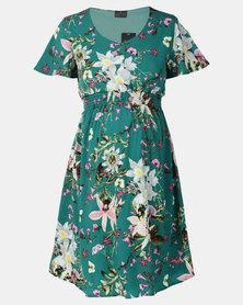 Cherry Melon V Neck Smocked Dress Flared Sleeve Jade Tropical