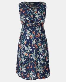 Cherry Melon Sleeveless Smock Button Thru Dress Bluebell Floral