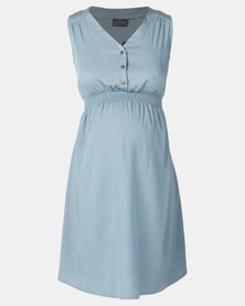 Cherry Melon Denim Sleeveless Dress Light Indigo
