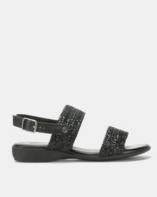 Froggie Leather Ida Flat Sandals Black