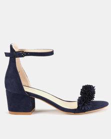Queue Suede Flower Block Heel Sandals Navy