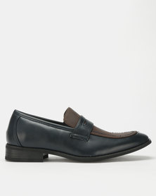 Franco Ceccato Two Tone Loafers Navy/Taupe
