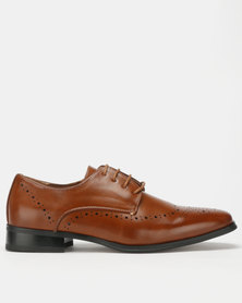 Franco Ceccato Lace Up Gibson Toe Vamp and Counter Spray Shoes Tan