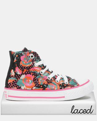 69273778818f7d Converse Neon Floral Hi Top Pink