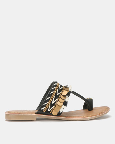 Queue Toe Post Leather Sandals with Tribal Print Black
