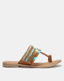 Queue Toe Post Leather Sandals with Tribal Print Tan