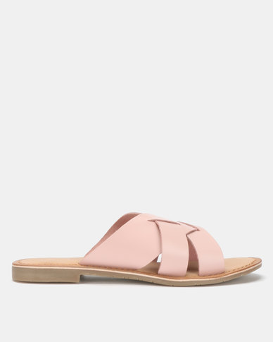 Queue Push In Leather Sandals Pink