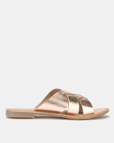 Queue Push In Leather Sandals Rose Gold