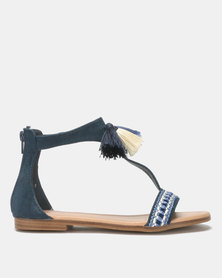 Queue T-Bar Leather Sandal with Tassel Navy