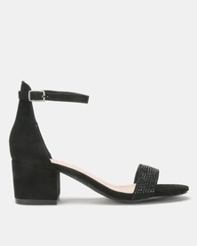 Queue Suede Closed Back Block Heels Black