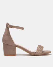 Queue Suede Closed Back Block Heels Light Brown