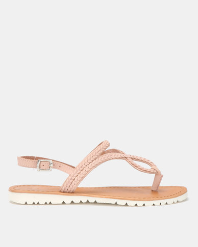 Queue Leather Weave Sandals with White Outsole Pink