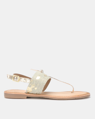 Queue Leather Toe Post with Animal Strap Sandals Gold