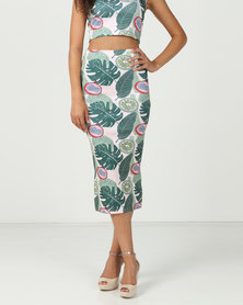 Brett Robson Printed Scuba Bodycon Skirt Tropical Print