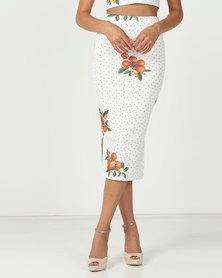 Brett Robson Printed Scuba Bodycon Skirt Orange/Spot