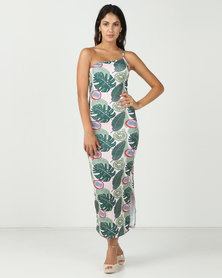 Brett Robson Printed Scuba Bodycon Dress With Asymetrical Strap Tropical Print