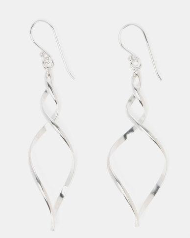 dc5c2515d Miss Maxi Sterling Silver Twist Drop Earrings Silver   Zando