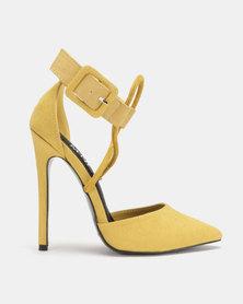 MHNY By Madison Cardi Colourblock Pointy Heels Mustard