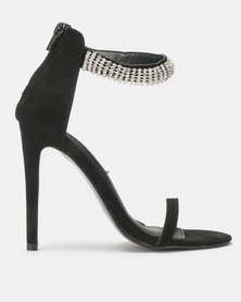 MHNY By Madison Maria Encrusted Strap Heeled Sandals Black Suede