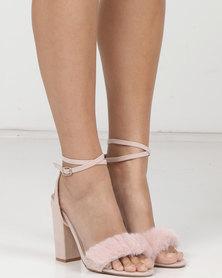 MHNY by Madison Bri Faux Fur Trim Heeled Sandals Blush