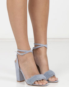 MHNY By Madison Bri Faux Trim Heeled Sandals Light Blue
