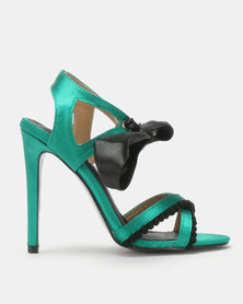 MHNY By Madison Brittany Two Tone Heeled Sandals Green/Black