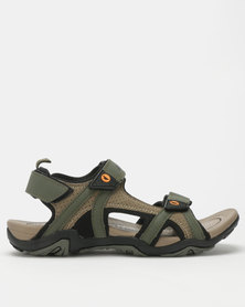 Hi-Tec Crater Sandals Olive/Stone/Yellow