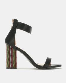 Jada Chic by Jada Fabric Cylindrical Heels Black