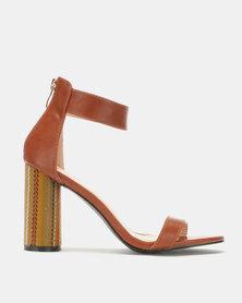 Jada Chic by Jada Fabric Cylindrical Heels Tan