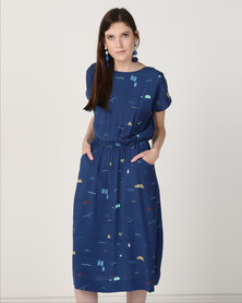 Good Clothing Polka HW Dress Royal CT