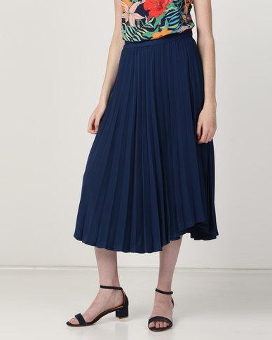 Good Clothing Pleated Wrap Skirt Navy